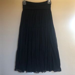 Iz Byer Black Layered Wrinkled Skirt